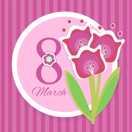 Womens day greeting card with flowers Vector