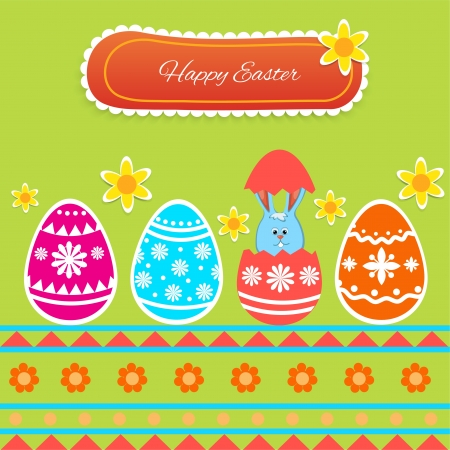 Happy Easter Card - Illustration Vector