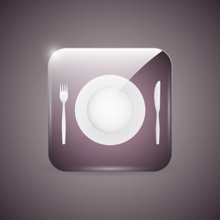 Empty dinner plate, knife and fork icon Vector