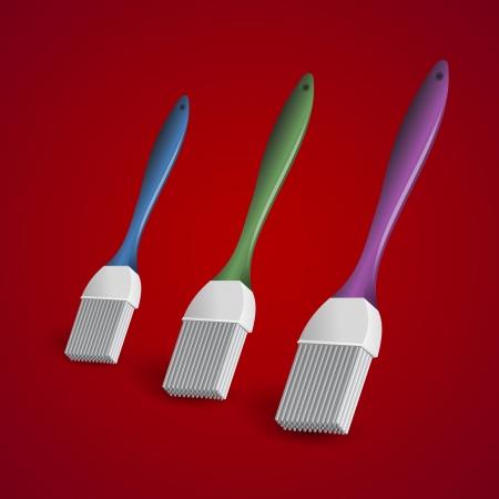 Three paintbrushes on red background. Stylish bright Illustration. Stock Vector - 19773906