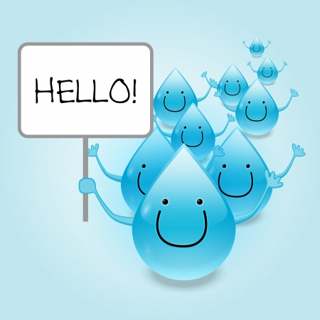 Water drop cartoon mascot characters holding a blank sign Illustration Vector