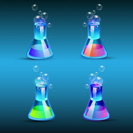 Set of glass flasks with liquid Stock Vector - 19774027