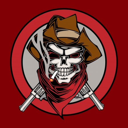 Vector illustration human skull in cowboys hat and two revolvers Vector