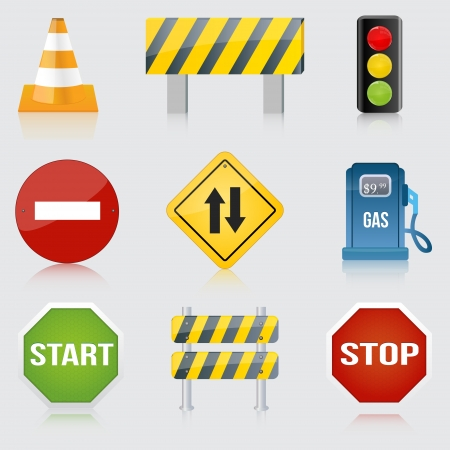 Image of various road and highway signs on a white background. Vector