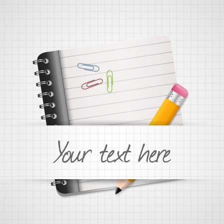 Yellow Pencil and notepad icon. Vector illustration Vector