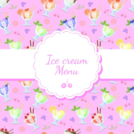 background for ice cream menu. Vector