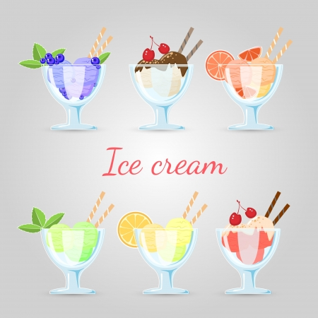 set of different ice cream. Vector