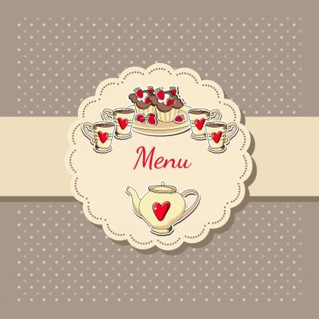 illustration of tea menu. Vector