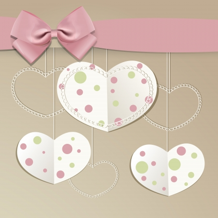 background with hearts and bow. Stock Vector - 19838833