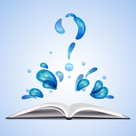 Water question mark over open book.