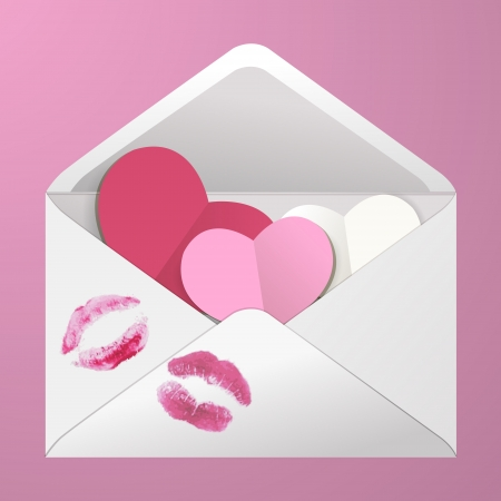 Open envelope with hearts and lipstick kisses. Vector