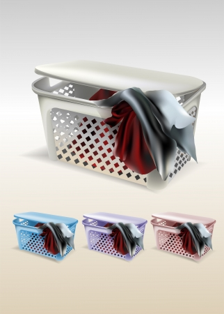basket with clothes Vector