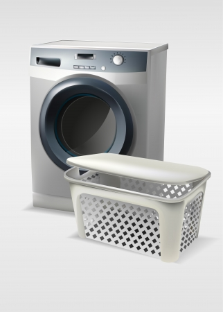 Washing machine with basket Vector