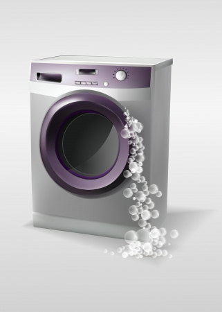 Washing machine with bubbles Vector