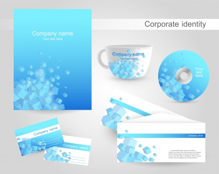 Professional corporate identity kit or business kit with artistic, abstract wave effect for your business Vector