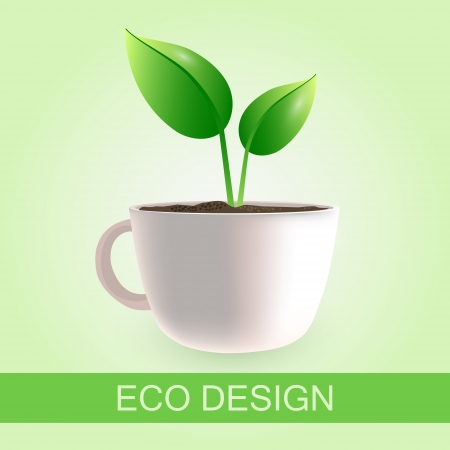 Original coffee cup eco design Vector
