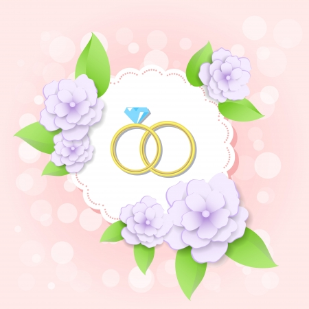 golden wedding rings with flowers Vector