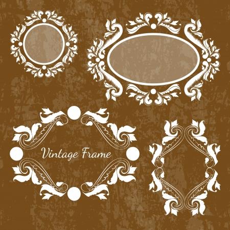 Set of vintage frames Vector