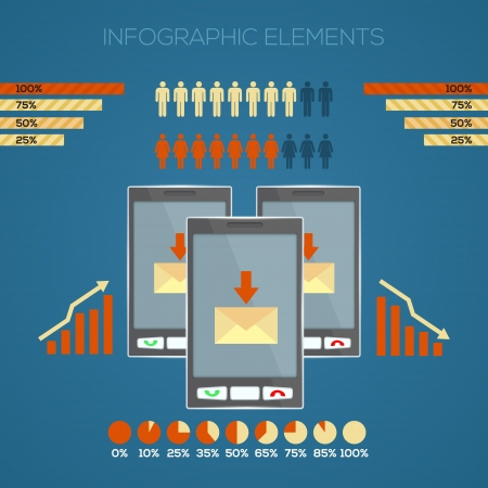 set of infographic elements for your documents and reports with three touchscreen mobile phone devices Vector