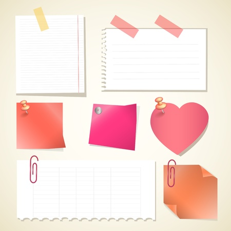 illustration Push pin collection with set note papers Vector
