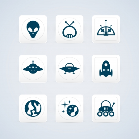 Black space icons set illustration Vector