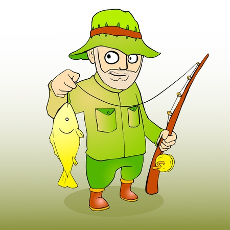Fisherman with rod spinning and fish illustration Vector