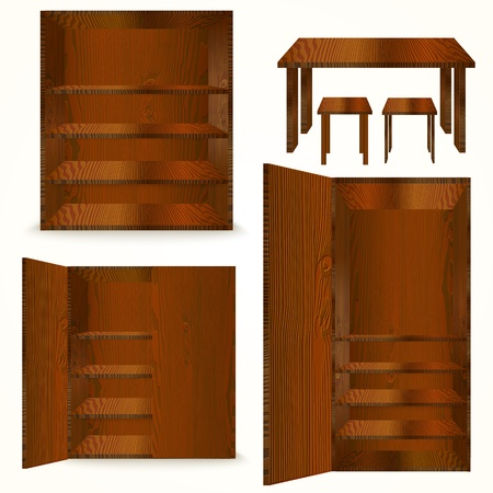 Set of Natural wooden Furniture. Vector illustration Vector