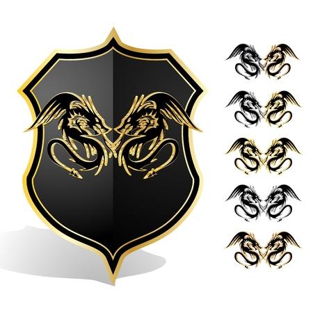 Heraldic dragon shield illustration