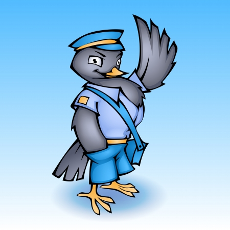 Cartoon postman pigeon illustration Vector