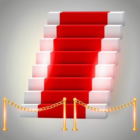 Red carpet on stairs. Vector illustration Vector