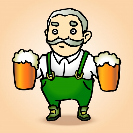 Cartoon Oktoberfest man with beer illustration Vector