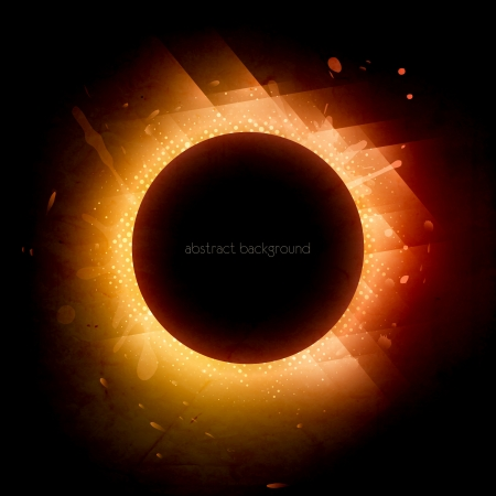 Solar eclipse. Illustration on black background for design Vector