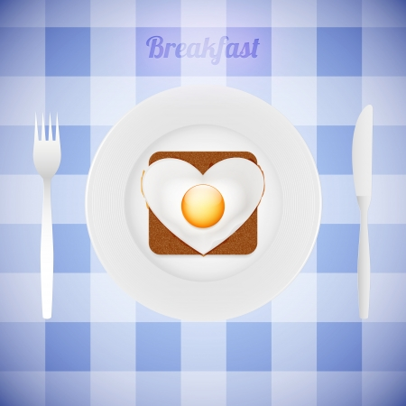 The tableware with heart Vector