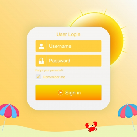 login form with sunny background Vector