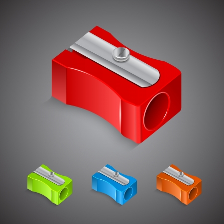 Set of plastic colored pencil sharpeners Vector