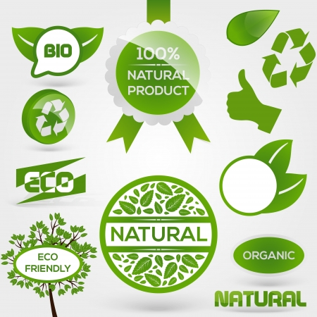 Eco Stamps and Labels. Eco Style. Vector
