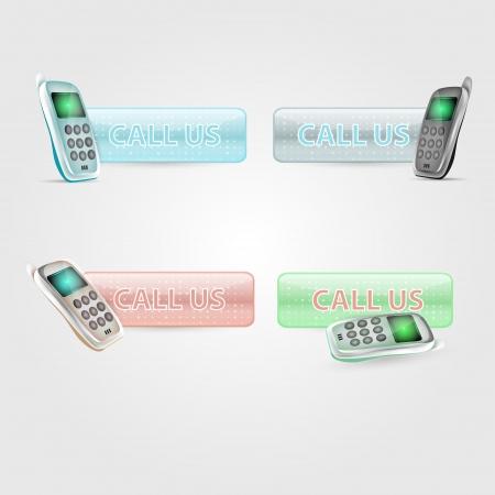 Call us button set Stock Vector - 19936611