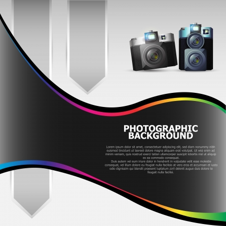 background with the cameras and place for text