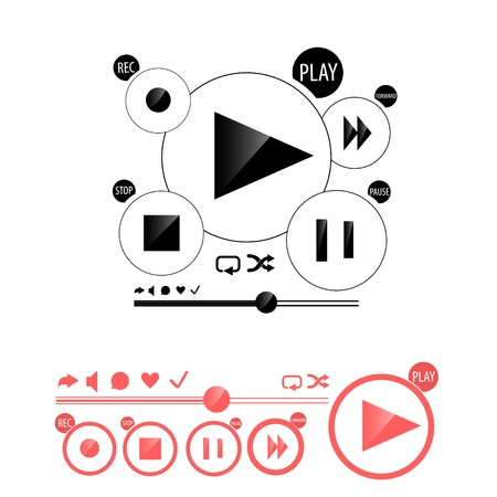 Round media player buttons and red audio player isolated on background Stock Vector - 19936749