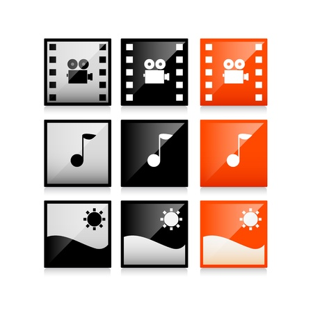 Multimedia icons: photo, video, music vector set Stock Vector - 20003008