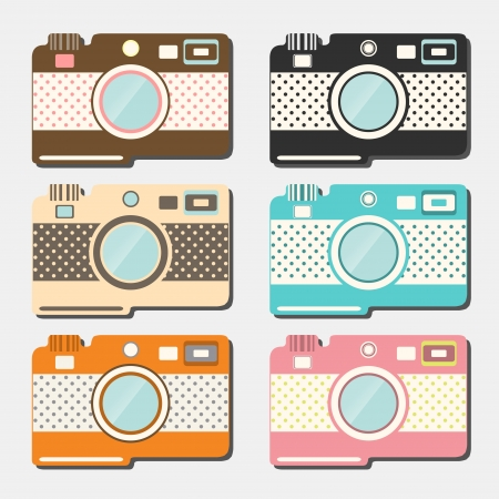 Old style photo cameras collection. Vector Vector