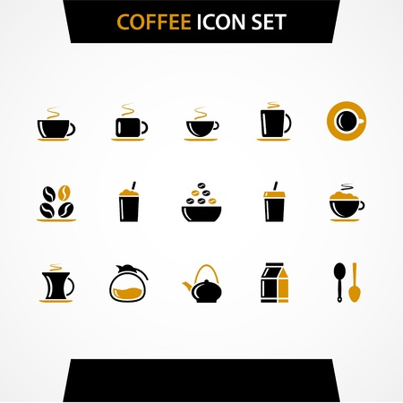 Vector coffee icons set. Vector