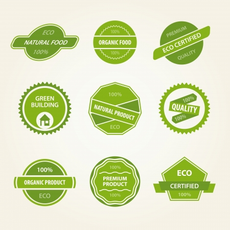 Set of organic vector labels Vector