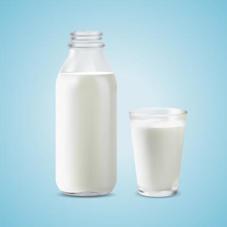 Vector illustration of a milk bottle and a glass of milk Illustration