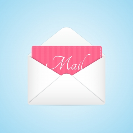 Opened Envelope with Pink Paper Sheet Vector