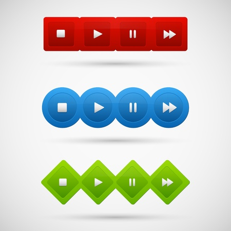 Control panel of media player Stock Vector - 20003858
