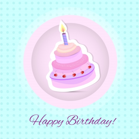 Vector happy birthday card. Birthday cake. Vector Illustration Vector