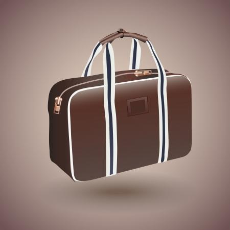 Vector travelers brown suitcase Vector