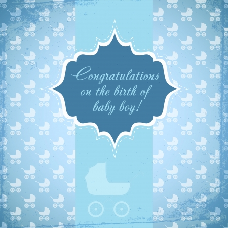 Card for baby with a baby carriage. Vector Vector