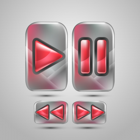 Play ,Pause and Stop buttons. Music icons illustration. Vector